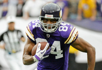 MINNEAPOLIS, MN - SEPTEMBER 25: Michael Jenkins #84 of the Minnesota Vikings carries the ball against the Detroit Lions on September 25, 2011 at Hubert H. Humphrey Metrodome in Minneapolis, Minnesota. (Photo by Hannah Foslien/Getty Images)