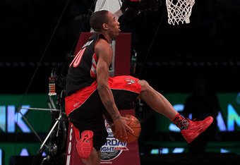 LOS ANGELES, CA - FEBRUARY 19:  DeMar DeRozan of the Toronto Raptors goes up for a dunk in the Sprite Slam Dunk Contest apart of NBA All-Star Saturday Night at Staples Center on February 19, 2011 in Los Angeles, California. NOTE TO USER: User expressly ac