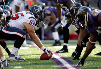 BALTIMORE, MD - OCTOBER 16: The Houston Texans offense lines up against the Baltimore Ravens  defense during the first half at M&T Bank Stadium on October 16, 2011 in Baltimore, Maryland. The Ravens won 29-14.  (Photo by Rob Carr/Getty Images)