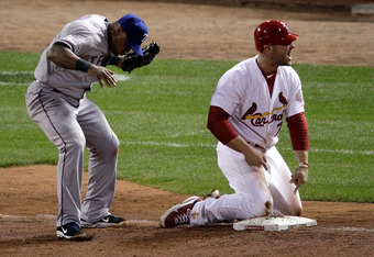 Matt Holliday picked off at third base