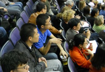 D.C.'s international fans watch Yi Jianlian of the Wizards take on Yao Ming in 2010. Photo by Mike Frandsen.