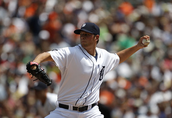 DETROIT - JULY 11: Andy Oliver #41 of the Detroit Tigers pitches in the second inning during the game against the Minnesota Twins on July 11, 2010 at Comerica Park in Detroit, Michigan.  (Photo by Leon Halip/Getty Images)