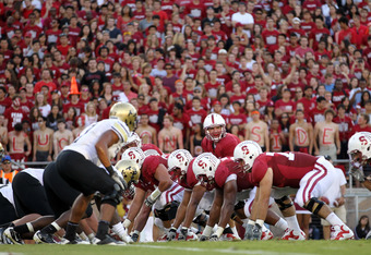 STANFORD, CA - OCTOBER 08:  Andrew Luck #12 of the Stanford Cardinal in action against the Colorado Buffaloes at Stanford Stadium on October 8, 2011 in Stanford, California.  (Photo by Ezra Shaw/Getty Images)