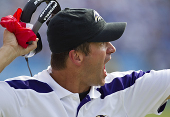 NASHVILLE, TN - SEPTEMBER 18:   Head Coach John Harbaugh of the Baltimore Ravens yells at the officials during a game against the Tennessee Titans at the LP Field on September 18, 2011 in Nashville, Tennessee.  The Titans defeated the Ravens 26 to 13.   (