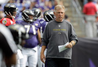 BALTIMORE, MD - AUGUST 06:  Offensive coordinator Cam Cameron of the Baltimore Ravens looks on during training camp at M&T Bank Stadium on August 6, 2011 in Baltimore, Maryland.  (Photo by Rob Carr/Getty Images)