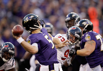 BALTIMORE, MD - OCTOBER 16: Quarterback Joe Flacco #5 of the Baltimore Ravens throws a pass against the Houston Texans at M&T Bank Stadium on October 16, 2011 in Baltimore, Maryland. The Ravens won 29-14.  (Photo by Rob Carr/Getty Images)