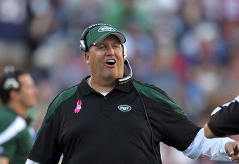 FOXBORO, MA - OCTOBER 9:   Rex Ryan of the New York Jets has words with an official during a game with the New England Patriots in the first half during a game against the New York Jets at Gillette Stadium on October 9, 2011 in Foxboro, Massachusetts. (Ph
