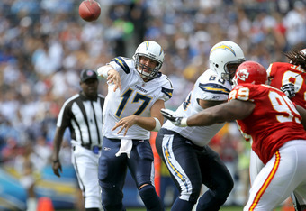 SAN DIEGO, CA - SEPTEMBER 25:  Quarterback Philip Rivers #17 of the San Diego Chargers throws a pass against the Kansas City Chiefs at Qualcomm Stadium on September 25, 2011 in San Diego, California.  The Chargers won 20-17.  (Photo by Stephen Dunn/Getty
