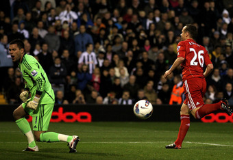 WEST BROMWICH, ENGLAND - OCTOBER 29:   Ben Foster of West Bromwich Albion reacts after Charlie Adam of Liverpool scored the opening goal from a penalty kick during the Barclays Premier League match between West Bromwich Albion and Liverpool at The Hawthor