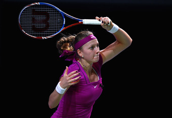 ISTANBUL, TURKEY - OCTOBER 29:  Petra Kvitova of Czech Republic plays a forehand in her match against Samantha Stosur of Australia during day five of the season ending TEB BNP Paribas WTA Championships Tennis at the Sinan Erdem Stadium on October 29, 2011