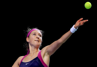 ISTANBUL, TURKEY - OCTOBER 29:  Victoria Azarenka of Belarus serves to Vera Zvonareva in the second set during the semifinals of the TEB BNP Paribas WTA Championships Istanbul at the Sinan Erdem Dome on October 29, 2011 in Istanbul, Turkey.  (Photo by Mat