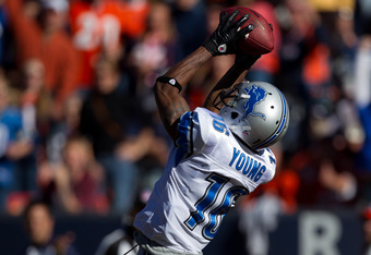 DENVER, CO - OCTOBER 30:  Wide receiver Titus Young #16 of the Detroit Lions makes a 41-yard reception for a touchdown during the first quarter against the Denver Broncos at Sports Authority Field at Mile High on October 30, 2011 in Denver, Colorado. (Pho
