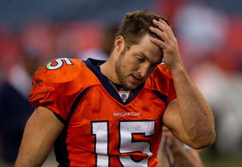 """This is what Tebow looks like when he's not winning. Notice he isn't kneeling to give praise when he loses. That doesn't make him a bad Christian, but that does make """"Tebowing"""" a celebratory act."""