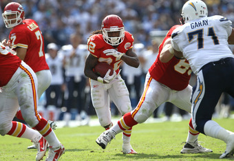SAN DIEGO, CA - SEPTEMBER 25:  Running back Dexter McCluster #22 of the Kansas City Chiefs carries the ball against cornerback Antoine Cason #20 of the San Diego Chargers at Qualcomm Stadium on September 25, 2011 in San Diego, California.    The Chargers