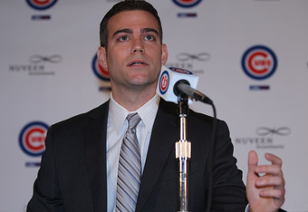 CHICAGO, IL - OCTOBER 25:  Theo Epstein, the new President of Baseball Operations for the Chicago Cubs, speaks during a press conference at Wrigley Field on October 25, 2011 in Chicago, Illinois.  (Photo by Jonathan Daniel/Getty Images)
