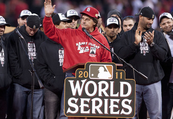 ST. LOUIS, MO - OCTOBER 30: Manager Tony LaRussa of the St. Louis Cardinals acknowledges the celebrating crowd inside Busch Stadium on October 30, 2011 in St Louis, Missouri. (Photo by Ed Szczepanski/Getty Images)