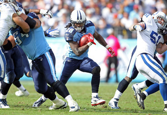 NASHVILLE, TN - OCTOBER 30:  Chris Johnson #28 of the Tennessee Titans runs with the ball during the NFL game against the Indianapolis Colts at LP Field on October 30, 2011 in Nashville, Tennessee.  (Photo by Andy Lyons/Getty Images)