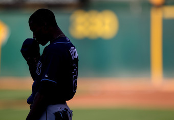 OAKLAND, CA - JULY 26:  B.J. Upton #2 of the Tampa Bay Rays looks on before his game against the Oakland Athletics at the Oakland-Alameda County Coliseum on July 26, 2011 in Oakland, California.  (Photo by Jed Jacobsohn/Getty Images)