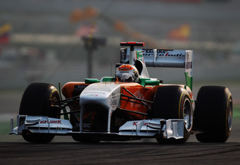 NOIDA, INDIA - OCTOBER 30:  Adrian Sutil of Germany and Force India drives during the Indian Formula One Grand Prix at the Buddh International Circuit on October 30, 2011 in Noida, India.  (Photo by Mark Thompson/Getty Images)