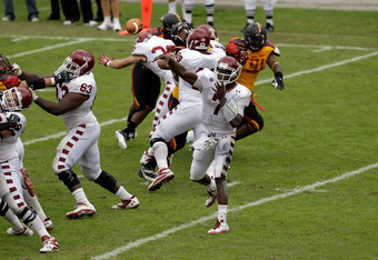 COLLEGE PARK, MD - SEPTEMBER 24:  Quarterback Chester Stewart #7 of the Temple Owls throws a pass against the Maryland Terrapins during the first half at Byrd Stadium on September 24, 2011 in College Park, Maryland.  (Photo by Rob Carr/Getty Images)