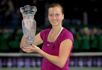 ISTANBUL, TURKEY - OCTOBER 30:  Petra Kvitova of the Czech Republic poses for photogrpahers after defeating Victoria Azarenka of Belarus during the final of the TEB BNP Paribas WTA Championships Istanbul at the Sinan Erdem Dome on October 30, 2011 in Ista