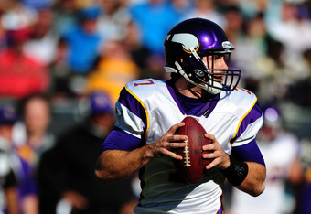 CHARLOTTE, NC - OCTOBER 30: Christian Ponder #7 of the Minnesota Vikings passes against the Carolina Panthers at Bank of America Stadium on October 30, 2011 in Charlotte, North Carolina. (Photo by Scott Cunningham/Getty Images)