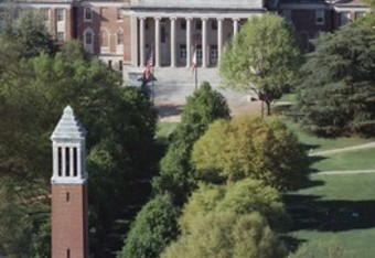 Denny Chimes and Gorgas Library on UA's campus.