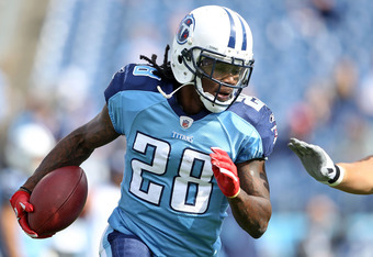 NASHVILLE, TN - OCTOBER 30:  Chris Johnson #28 of the Tennessee Titans runs with the ball before the NFL game against the Indianapolis Colts at LP Field on October 30, 2011 in Nashville, Tennessee.  (Photo by Andy Lyons/Getty Images)
