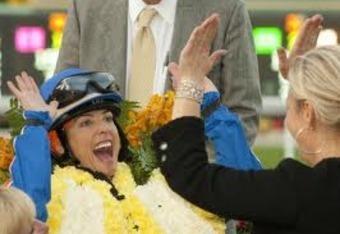 Sutherland and Jill Baffert celebrate after a big win at Santa Anita.