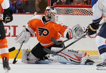 PHILADELPHIA, PA - OCTOBER 22:  Ilya Bryzgalov #30 of the Philadelphia Flyers in action against the St. Louis Blues on October 22, 2011 at Wells Fargo Center in Philadelphia, Pennsylvania. The Blues defeated the Flyers 4-2.  (Photo by Jim McIsaac/Getty Im