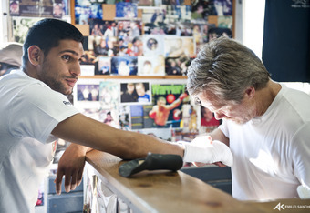 Amir Khan and trainer Freddie Roach
