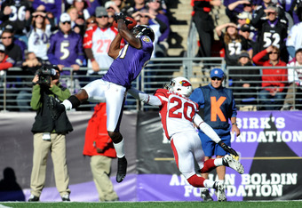 BALTIMORE - OCTOBER 30:  Anquan Boldin #81 of the Baltimore Ravens makes a catch against A.J. Jefferson #20 the Arizona Cardinals at M&T Bank Stadium on October 30. 2011 in Baltimore, Maryland. The Ravens defeated the Cardinals 30-27. (Photo by Larry Fren