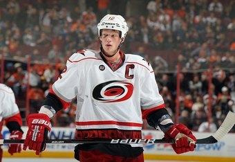 PHILADELPHIA, PA - OCTOBER 29:  Eric Staal #12 of the Carolina Hurricanes in action against the Philadelphia Flyers on October 29, 2011 at Wells Fargo Center in Philadelphia, Pennsylvania. The Flyers defeated the Hurricanes 5-1.  (Photo by Jim McIsaac/Get
