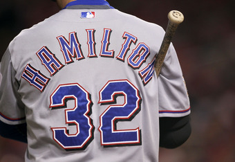 ST LOUIS, MO - OCTOBER 28:  A detailed view of the jersey worn by Josh Hamilton #32 of the Texas Rangers while at bat during Game Seven of the MLB World Series against the St. Louis Cardinals at Busch Stadium on October 28, 2011 in St Louis, Missouri.  (P
