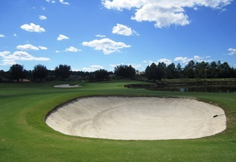 """Hit short, go around or carry"" this Nicklaus bunker on No. 5- ""Fader's Delight."""