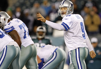 PHILADELPHIA, PA - OCTOBER 30: Tony Romo #9 the Dallas Cowboys calls a paly at the line during a game against the Philadelphia Eagles at Lincoln Financial Field on October 30, 2011 in Philadelphia, Pennsylvania. The Eagles defeated the Cowboys 34-7. (Phot