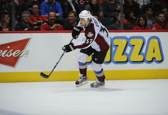 CALGARY, CANADA - OCTOBER 26: Ryan O'Reilly #37 of the Colorado Avalanche skates against the Calgary Flames on October 26, 2011 at Scotiabank Saddledome in Calgary, Alberta, Canada. (Photo by Dale MacMillan/Getty Images)