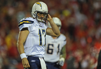 KANSAS CITY, MO - OCTOBER 31:  Quarterback Philip Rivers #17 of the San Diego Chargers walks off the field after throwing a interception during the first quarter against the Kansas City Chiefs on October 31, 2011 at Arrowhead Stadium in Kansas City, Misso