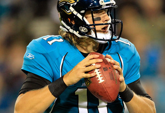 JACKSONVILLE, FL - OCTOBER 24:  Blaine Gabbert #11 of the Jacksonville Jaguars attempts a pass during the game against the Baltimore Ravens at EverBank Field on October 24, 2011 in Jacksonville, Florida.  (Photo by Sam Greenwood/Getty Images)