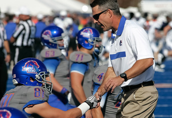 BOISE, ID - OCTOBER 22:  Head Coach Chris Petersen of the Boise State Broncos shakes hands with Nick Alexander #81 before the game against the Air Force Falcons at Bronco Stadium on October 22, 2011 in Boise, Idaho.  (Photo by Otto Kitsinger III/Getty Ima