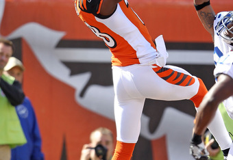 CINCINNATI, OH - OCTOBER 16: A.J. Green #18 of the Cincinnati Bengals catches a touchdown pass during the NFL game against the Indianapolis Colts at Paul Brown Stadium on October 16, 2011 in Cincinnati, Ohio. The Bengals won 27-17.  (Photo by Andy Lyons/G