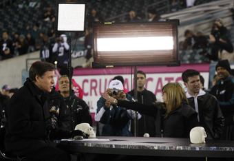 PHILADELPHIA, PA - OCTOBER 30: Bob Costas of NBC hosts Football Night in America, the pregame show before the networks' Sunday Night Football game between the Dallas Cowboys and Philadelphia Eagles at Lincoln Financial Field on October 30, 2011 in Philade