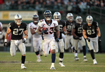 OAKLAND, CA - NOVEMBER 06:  Willis McGahee #23 of the Denver Broncos runs the ball in for a touchdown against the Oakland Raiders at O.co Coliseum on November 6, 2011 in Oakland, California.  (Photo by Ezra Shaw/Getty Images)