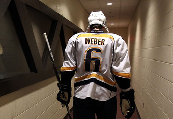 GLENDALE, AZ - NOVEMBER 03:  Shea Weber #6 of the Nashville Predators walks back to the locker room after warm ups to the NHL game against the Phoenix Coyotes at Jobing.com Arena on November 3, 2011 in Glendale, Arizona.  The Predators defeated the Coyote