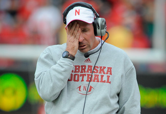 LINCOLN, NE - OCTOBER 29: Nebraska Cornhuskers coach Bo Pelini reacts during their game against the Michigan State Spartans at Memorial Stadium October 29, 2011 in Lincoln, Nebraska. Nebraska defeated Michigan State 24-3. (Photo by Eric Francis/Getty Imag
