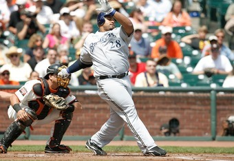 SAN FRANCISCO - AUGUST 26:  First baseman Prince Fielder #28 of the Milwaukee Brewers swings and misses during of a Major League Baseball game against the San Francisco Giants on August 26, 2007 at AT&T Park in San Francisco, California. (Photo by Greg Tr