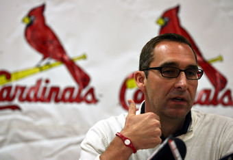 JUPITER, FL - FEBRUARY 16:  General Manager John Mozeliak of the St. Louis Cardinals speaks at a press conference at Roger Dean Stadium on February 16, 2011 in Jupiter, Florida.  (Photo by Marc Serota/Getty Images)