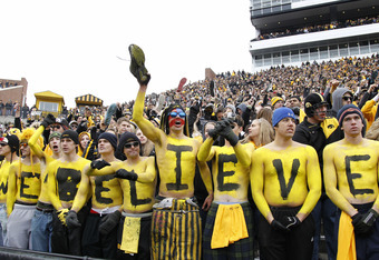 IOWA CITY, IA - NOVEMBER 5: Iowa Hawkeyes fans look on during the game against the at Michigan Wolverines at Kinnick Stadium on November 5, 2011 in Iowa City, Iowa. Iowa won 24-16. (Photo by Joe Robbins/Getty Images)