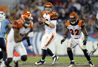 NASHVILLE, TN - NOVEMBER 06:  Andy Dalton #14 of the Cincinnati Bengals looks to pass the ball during the NFL game against the Tennessee Titans at LP Field on November 6, 2011 in Nashville, Tennessee.  The Bengals won 24-17.  (Photo by Andy Lyons/Getty Im