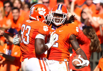 CLEMSON, SC - OCTOBER 22:  Sammy Watkins #2 and Dwayne Allen #83 the Clemson Tigers celebrate a second half touchdown against the North Carolina Tar Heels during their game at Memorial Stadium on October 22, 2011 in Clemson, South Carolina.  (Photo by Sco